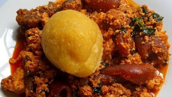 tomato egusi/melon stew soup in nigeria  nigerian fufu